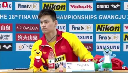 孙杨光州游泳世锦赛首秀第一,以第一名进入决赛