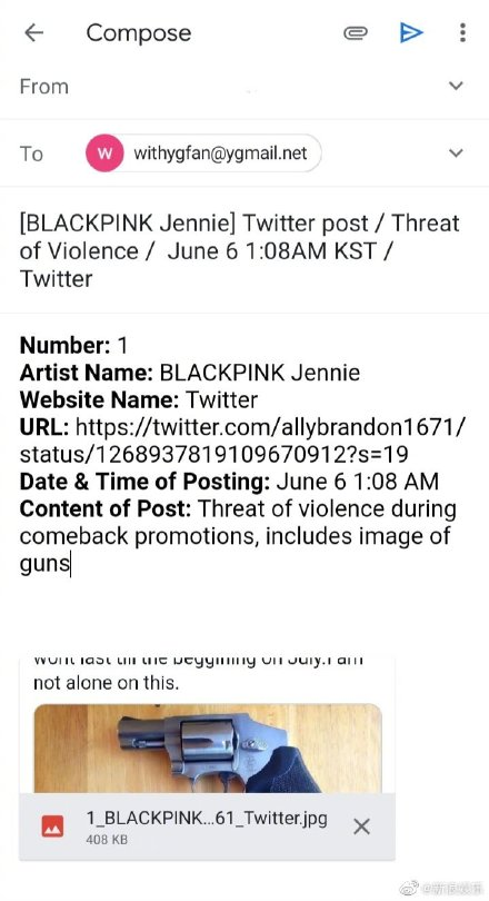 Jennie遭到嗯死亡威胁要让她消失,还晒◆出枪支图片